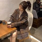 港味復古格子毛呢外套女冬季新款韓版中長款寬鬆夾棉加厚呢子大衣 雅楓居