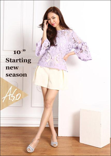 A.S.O 法式浪漫 真皮蕾絲蝴蝶綴飾高跟魚口鞋  灰
