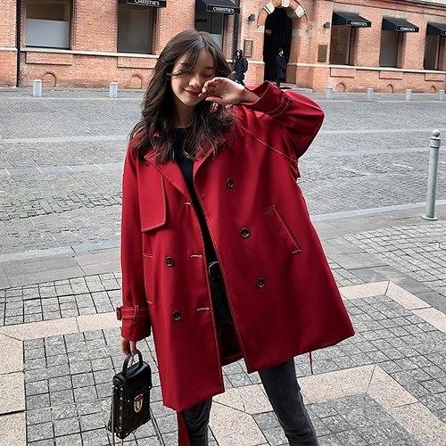 風衣外套-中長版時尚雙排扣純色休閒女大衣2色73yr14[巴黎精品]