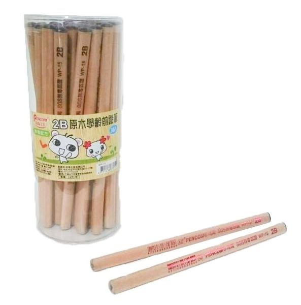 【金玉堂文具】學前鉛筆 熊熊 三角粗桿粗芯 WP-15 原木桿 2B 36支入/筒