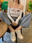 性感一字肩長袖T恤女夏季短款白色漏臍修身打底衫上衣新款潮新品上新
