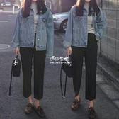 垂感闊腿褲女九分褲學生時尚高腰韓版寬鬆西裝褲休閒褲直筒褲  伊莎公主