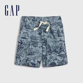 Gap男幼童 帥氣印花鬆緊休閒短褲 541854-淺藍色