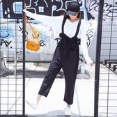 【GZ57】棉麻 背帶褲 夏季 口袋 寬鬆 九分褲 工裝 吊裆褲 複古 毛邊 亞麻 吊帶褲