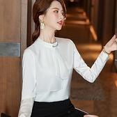 珠光飄逸荷葉領口緞面上衣[21S061-PF]美之札