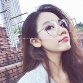 現貨-韓國ulzzang原宿復古眼鏡框新款眼鏡框女韓版潮復古韓版平光鏡明星網紅同款可配近視金屬127
