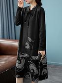 洋裝 大碼連身裙秋季韓版時尚拼接蝴蝶結綁帶領口長袖連身裙女NB11快時尚