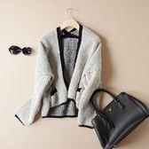 針織外套-羊毛長袖小香風寬鬆短款女毛衣外套2色72ak13【巴黎精品】