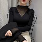 長袖 2021新款蕾絲半高領針織衫女士心機修身毛衣打底長袖顯瘦上衣【快速出貨八折搶購】