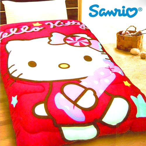 【Jenny Silk名床】Hello Kitty.蜜糖(紅).雙面花色.保暖毛毯被.全程臺灣製造