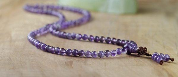 [協貿國際]天然狗牙紫晶108顆佛珠手鍊單條價