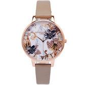 Olivia Burton 秋色大理石紋款手錶(OB16CS17)-白面X豆沙色/38mm