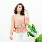 闕蘭絹 甜美雅致V領縮腰造型100%蠶絲雪紡上衣-6011(膚)