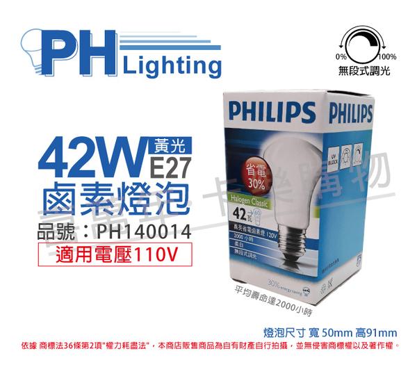 PHILIPS飛利浦 42W 110V E27 黃光 真亮鹵素燈泡 可調光_PH140014