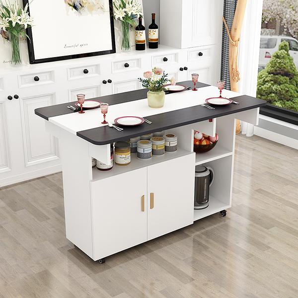 簡約現代小戶型伸縮折疊餐桌簡易飯桌椅組合長方形移動廚房儲物櫃