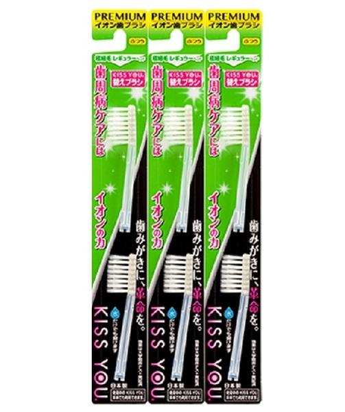【KISS U 】日本負離子牙刷 - 刷頭補充包不挑色三卡一組共六入 (極致細毛)