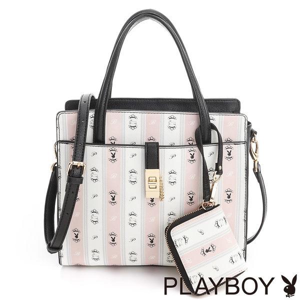 PLAYBOY- 2WAY手提包 Sweet Girl 甜蜜粉躍兔系列-甜粉色