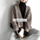 2020秋冬韓版復古氣質撞色針織開衫女V領菱格厚實ins寬鬆外套毛衣 陽光好物