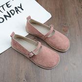 復古娃娃鞋豆豆鞋平底鞋一字扣帶鞋學生鞋