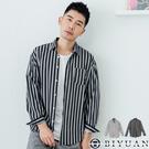 【OBIYUAN】 韓國製 絲質襯衫外套 直條紋 修身 長袖襯衫 共2色【B1819】