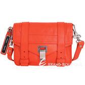 PROENZA SCHOULER PS1 Mini Pouch 銀釦山羊皮革斜背包(橘紅) 1630148-73