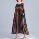 中大尺碼洋裝 洋氣減齡腰粗遮肚子寬鬆藏肉顯瘦連身裙夏裝新款條紋復古大擺裙子