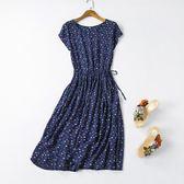 棉綢連身裙夏新款中長款短袖修身顯瘦純棉綢碎花女裙子綿綢裙【無趣工社】