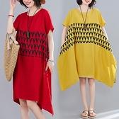 洋裝 中大尺碼女裝 胖妹妹2021夏季新款復古文藝大碼印花圓領短袖顯瘦棉麻連身裙