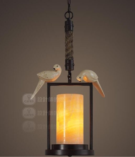 美術燈 工業風鄉村風大理石咖啡歐式餐廳麻繩兩只小鳥雲石吊燈 -不含光源·
