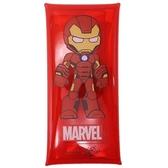 〔小禮堂]漫威英雄Marvel 鋼鐵人 防水透明扁平扣式筆袋《紅黃.站姿》收納包.鉛筆盒 4979274-15490