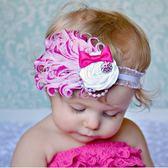 UNICO  歐美羽毛 兒童帶鑽玫瑰花髮帶/髮飾