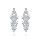 耳環 純銀鍍白金 鑲鑽-閃耀迷人生日情人節禮物女飾品73cr160【時尚巴黎】