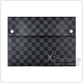 LV N60255 ALPHA TRIPLE棋盤格LOGO Damier帆布扣式三合一手拿包(藍)