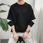 ulzzang短袖t恤男原宿bf風寬鬆韓版5分7分袖男生中袖上衣ins體恤『潮流世家』