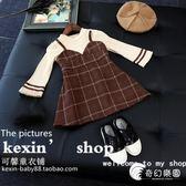 韓國女童文藝范連衣裙 春秋季打底衫 格子吊帶裙假兩件童裙