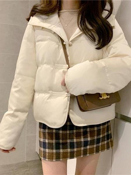 羽絨服 秋冬新款韓版寬松小個子短款連帽盤扣中古風羽絨棉服外套女 交換禮物