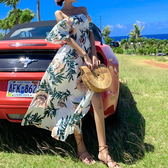 梨卡 - 甜美優雅度假一字領露肩印花花朵圖騰沙灘連身長裙洋裝連身裙長洋裝長裙沙灘裙C6418