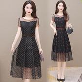 L-5XL大碼洋裝~夏季新款短袖連身裙大碼胖mm網紗收腰顯瘦大擺裙876H489-A胖妞衣櫥