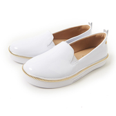 Petite Jolie 金屬飾邊亮面帆布鞋-白色