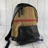BRAND楓月 BURBERRY 經典格紋 帆布 皮革拼接 拉鍊開口 後背包 雙肩包 電腦包 大容量