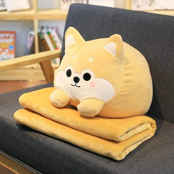 抱枕被公仔抱枕被子兩用汽車辦公室抱枕靠墊被子毯子午睡枕空調毯二合一 小明同學