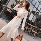 針織抓絨連衣裙初秋冬季新款女裝韓版中長款長袖高領魚尾裙子