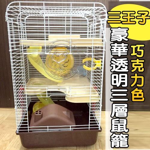 【培菓平價寵物網】CAE PET三王子 》豪華透明三層鼠籠 (巧克力色)