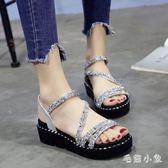 坡跟涼鞋2018新款女中跟夏季坡跟原宿風松糕鞋女厚底高跟涼鞋 ys2757『毛菇小象』