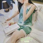 (萬聖節狂歡)正韓性感睡衣女夏真絲吊帶蕾絲冰絲小清新少女絲綢薄款家居服套裝