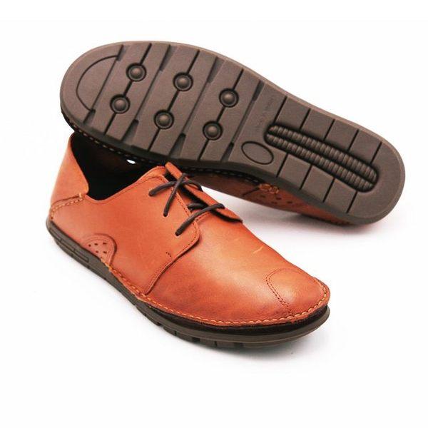 WALKING ZONE 真皮自然剪裁英倫皮革開車鞋綁帶 男鞋-咖(另有棕、黑)