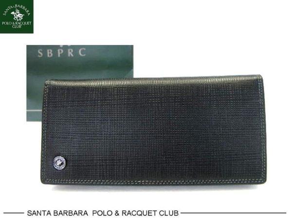 【皇家皮革*台中皮件30年專賣店】Polo Santa Barbara 聖大保羅黑色牛皮夾拉鏈式零錢袋男長夾*74-6