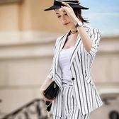 顯瘦條紋個性七分袖OL上班/休閒西裝外套 ~8X184-PF ~美之札