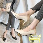 兩穿高跟鞋少女細跟新款韓版百搭尖頭小清新貓跟鞋單鞋女