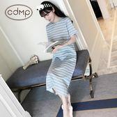 韓版睡衣女夏短袖全棉可愛條紋睡裙女夏天純棉寬鬆性感長款家居服    西城故事